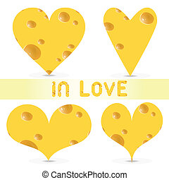 Vector valentines day - cheese set