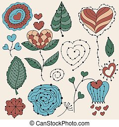 Vector Valentine's Day Floral Design Elements
