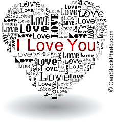 Vector valentine's day-Love text in heart