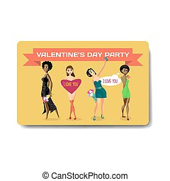 Vector valentine's day party invitation. Young woman with gifts and flowers