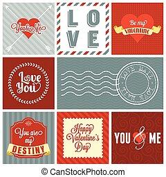 Vector valentine`s day set, headline, labels, emblems and other decorative elements. set 3