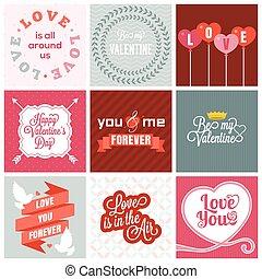 Vector valentine`s day set, headline, labels, emblems and other decorative elements.set 1