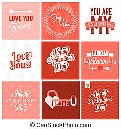 Vector valentine`s day set, headline, labels, emblems and other decorative elements.set 2