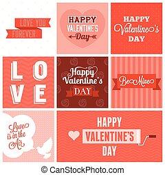 Vector valentine`s day set, headline, labels, emblems and other decorative elements.set 4