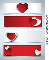 Valentines Day Set of Four Web Banners - Vector - Valentines...