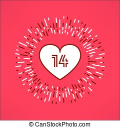 Vector valentines heart with fourteen number inside on tribal outburst background. Love and romance design element