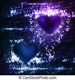 Vector valentines hearts illustration, abstract background , futuristic heart eps10