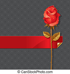Vector Valentines illustration with Red rose and ribbon