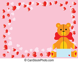 vector valentine`s teddy bear on pink - vector cartoon pink...