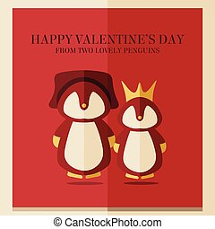 vector valentines's day card with illustration of two penguins in red square frame
