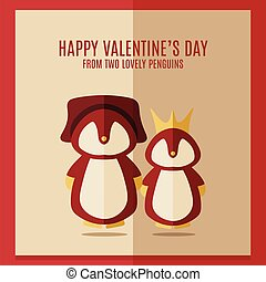 vector valentines's day card with illustration of two red penguins in square frame