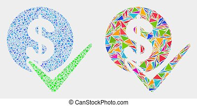 Vector Valid Dollar Coin Mosaic Icon of Triangles