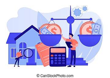 vector, valuación, servicios, ilustración, concepto