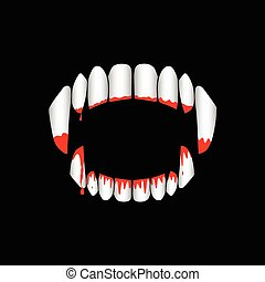 Vector vampire or monster bloody teeth on black background. Template for Halloween banner or greeting card.