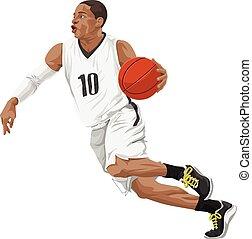 vector, van, basketbal, player.
