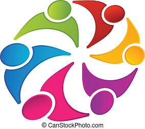 vector, van, een, teamwork, kleurrijke, logo