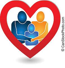 vector, van, gezin, in, een, hart, logo