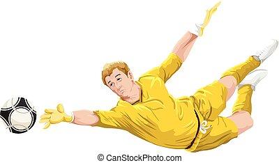 vector, van, goalkeeper, in, action.