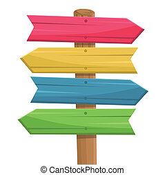 vector, van, houten, route, meldingsbord
