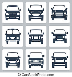 Vector van icons set: front view