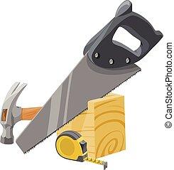 vector, van, meubelmakerij, tools.