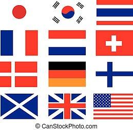 vector, van, nationale vlag