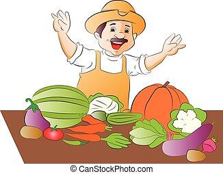 vector, van, vrolijke , groente, seller.
