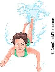 vector, van, vrouw, beoefenen, onderwater, swimming.