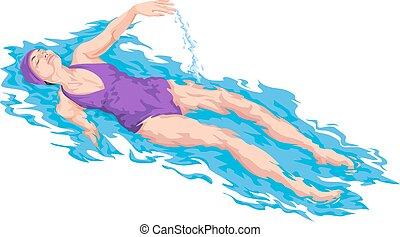 vector, van, vrouw, zwevend, op, water.