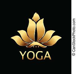 vector, van, yoga, goud, lotus bloem