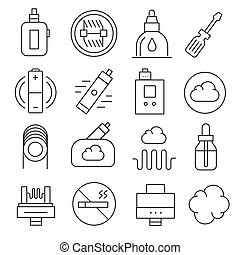 Vector vaping icons set isolated trend black