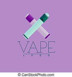 Vector vaping logo with two crossed mechanical modes. Colored flat-style on violet background