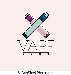 Vector vaping logo with two crossed mechanical modes. Colored with outline on gray background.