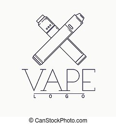 Vector vaping logo with two crossed mechanical modes. Outline on white background.