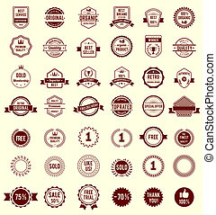 Vector Variety Design Maroon Retro Vintage Badges Isolated on White Background