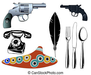 vector various objects - Vector illustration of the various...