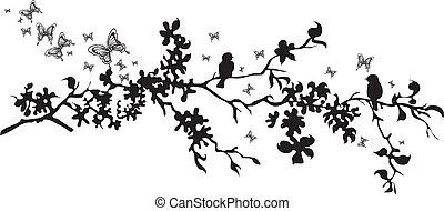 Vector - Vector birds on a decorative branch