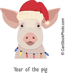 Vector pig head in winter new year clothing