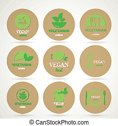Vector Vegan and Vegetarian Food Emblems