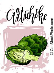 Vector vegetable element of artichoke. Hand drawn icon with lettering. Food illustration for cafe, market, menu design