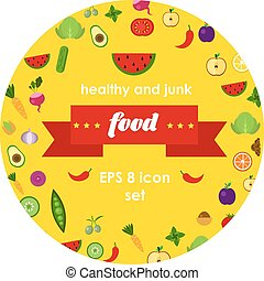 vector vegetables and fruits illustrations in round sticker