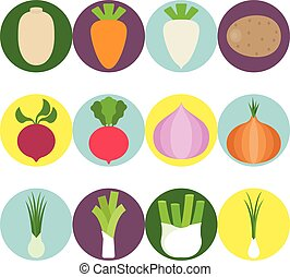 Vector Vegetables flat icons set 3