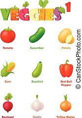 Vector vegetables icon set