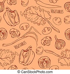 Vector vegetables seamless pattern.