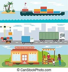 vector, vegetales, conjunto, importación, entrega, fruits, iconos, exportación