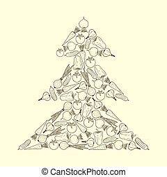 Vector vegetarian Christmas tree from vegetables - carrot, garlic, onion, tomato, beet, pepper, cucumber. Graphic Christmas tree