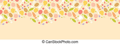 Vector vegetarian cooking horizontal seamless pattern background ornament with hand drawn elements