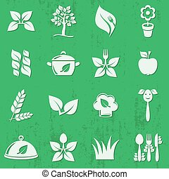 Vector vegetarian organic food icons set isolated