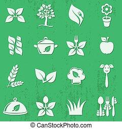 vector, vegetariano, alimento orgánico, icono