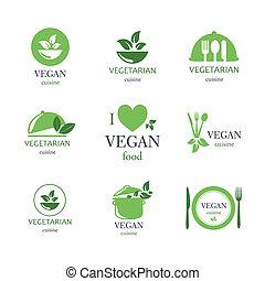 vector, vegetariano, y, alimento vegetariano, emblemas